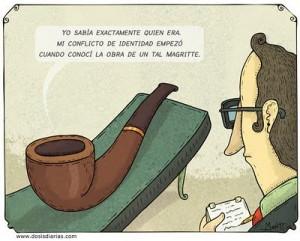 """Caricatura satirica sobre """"Esto no es una pipa"""""""