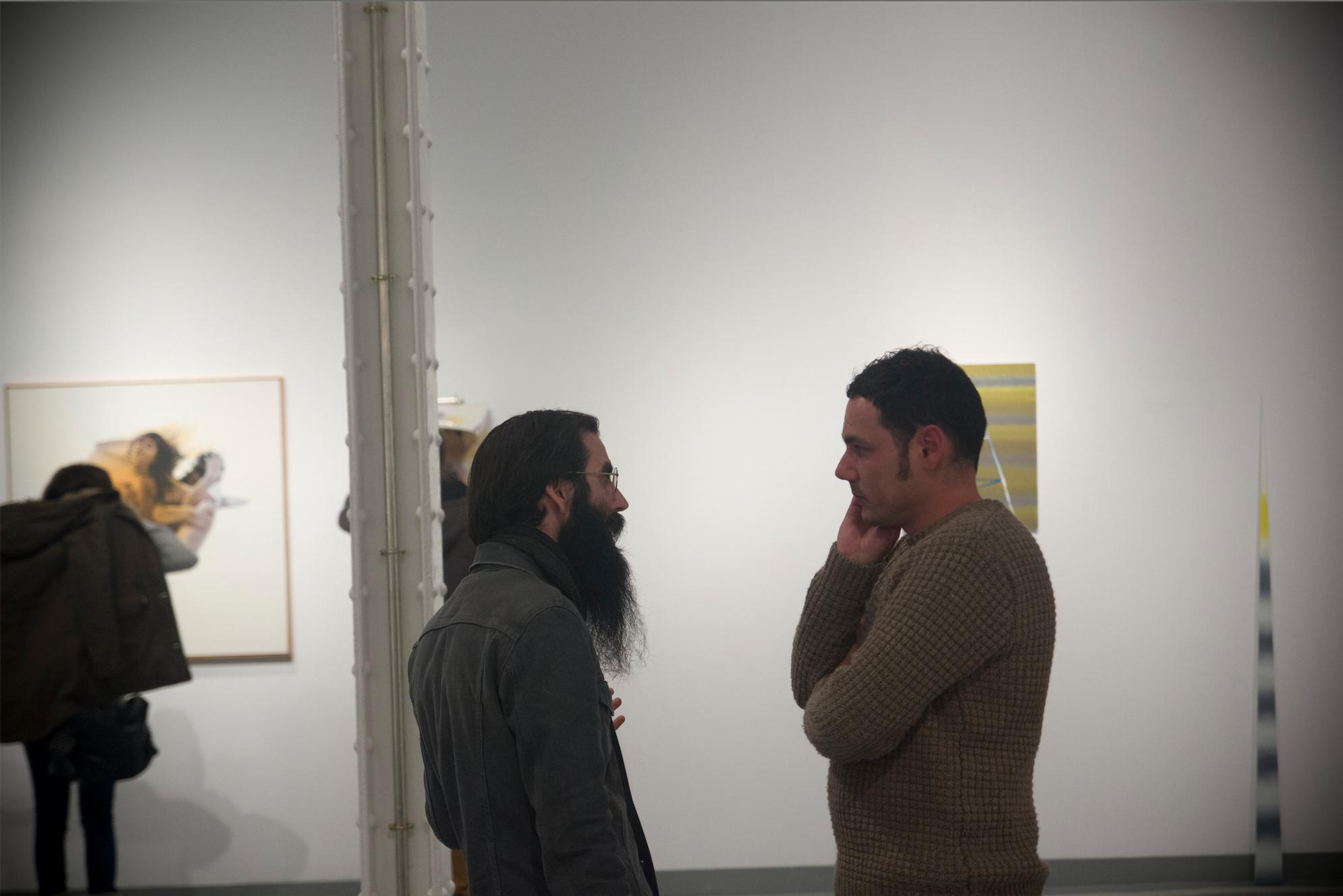 Los artistas Pere Vilardebó y Ruben Torras durante la muestra