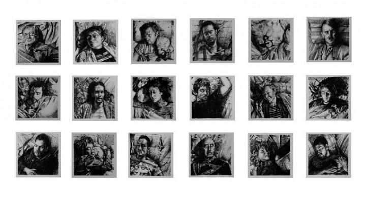 Serie Fills de la utopia_Mural de 18 dibujos de 17X17 (cm)_Lápiz 2B sobre papel de 200 gr.