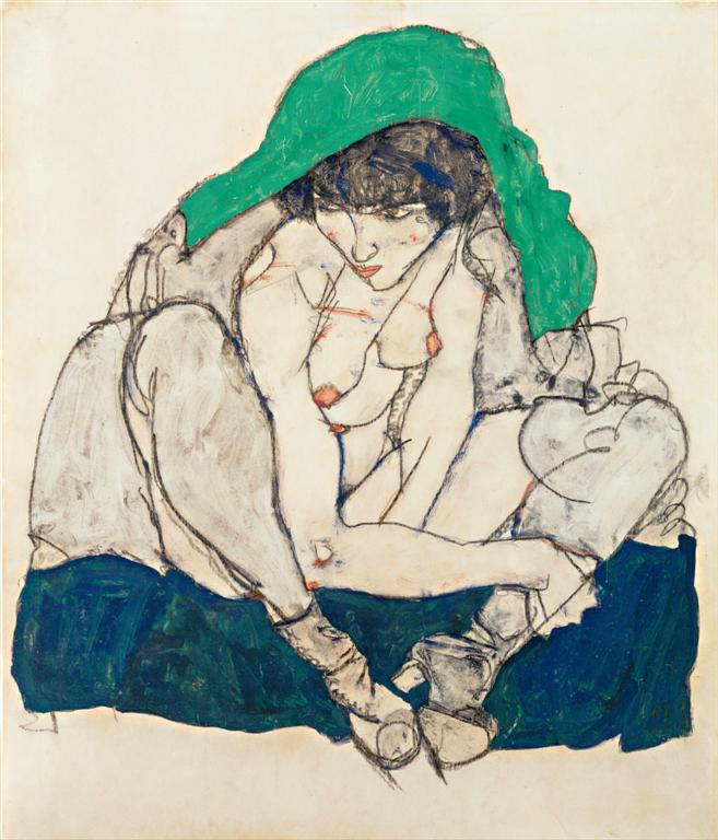 Mujer agachada con pañuelo verde, 1914,