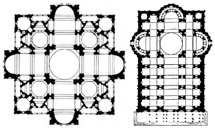 Proyecto de Bramante (izquierda) y proyecto de Rafael (derecha)
