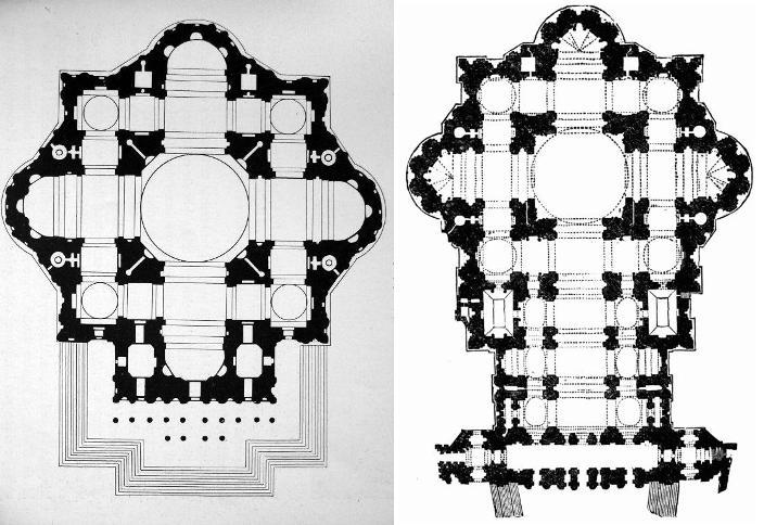 Proyecto de Miguel Ángel (izquierda) y proyecto de Maderno (derecha)
