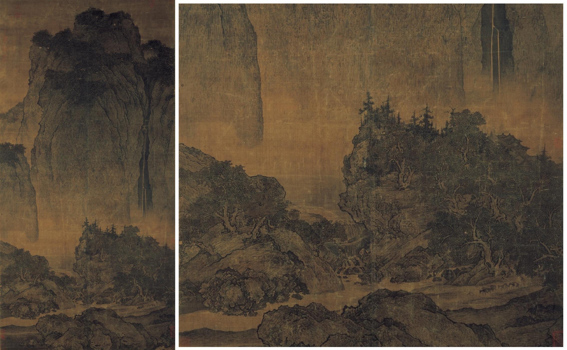 """""""Viajeros en medio de las montañas y corrientes de agua"""", Fan Guan."""
