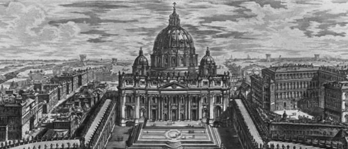 Vista de la Basílica de San Pedro, grabado de Piranesi, XVIII.