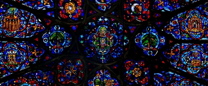 Rosetón de la Catedral de Reims (Francia), siglo XIII.