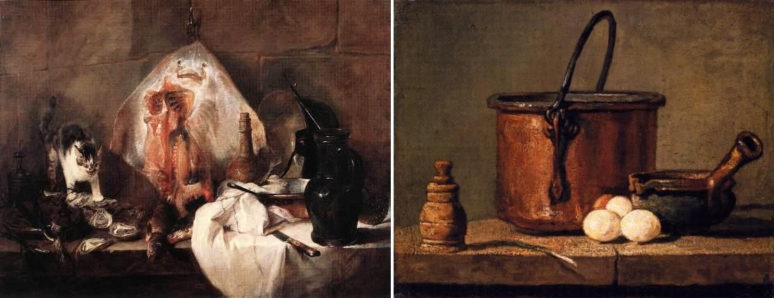 Chardin, La raya, 1728; Chardin, Still life with a pan, pepper pot, leek and three eggs, 1732.