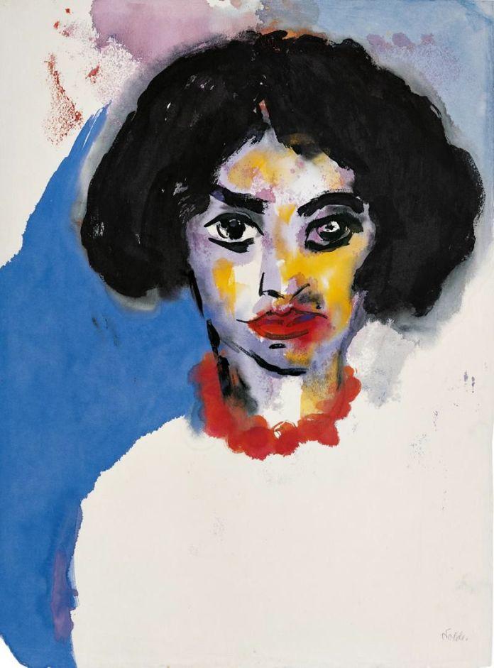 """Emil Nolde, """"La Señora T. con un collar rojo"""", 1930."""
