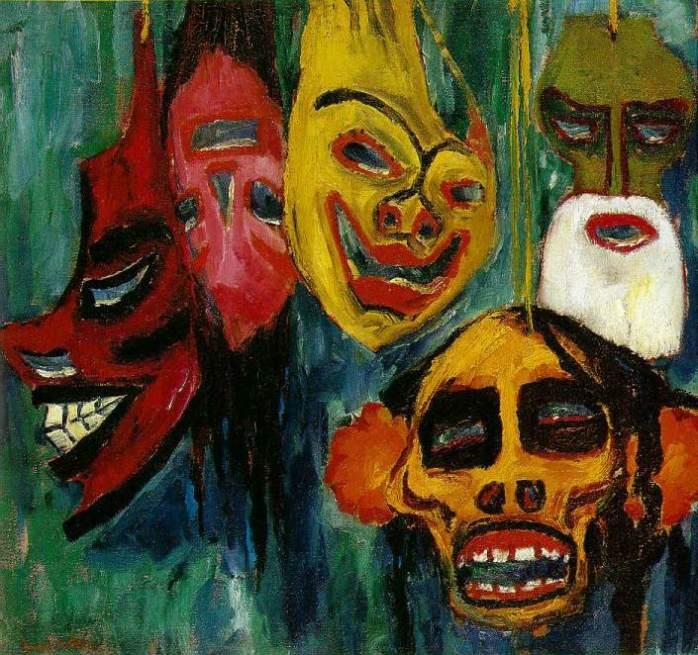 """Emil Nolde, """"Naturaleza muerta con máscaras III"""", 1911."""