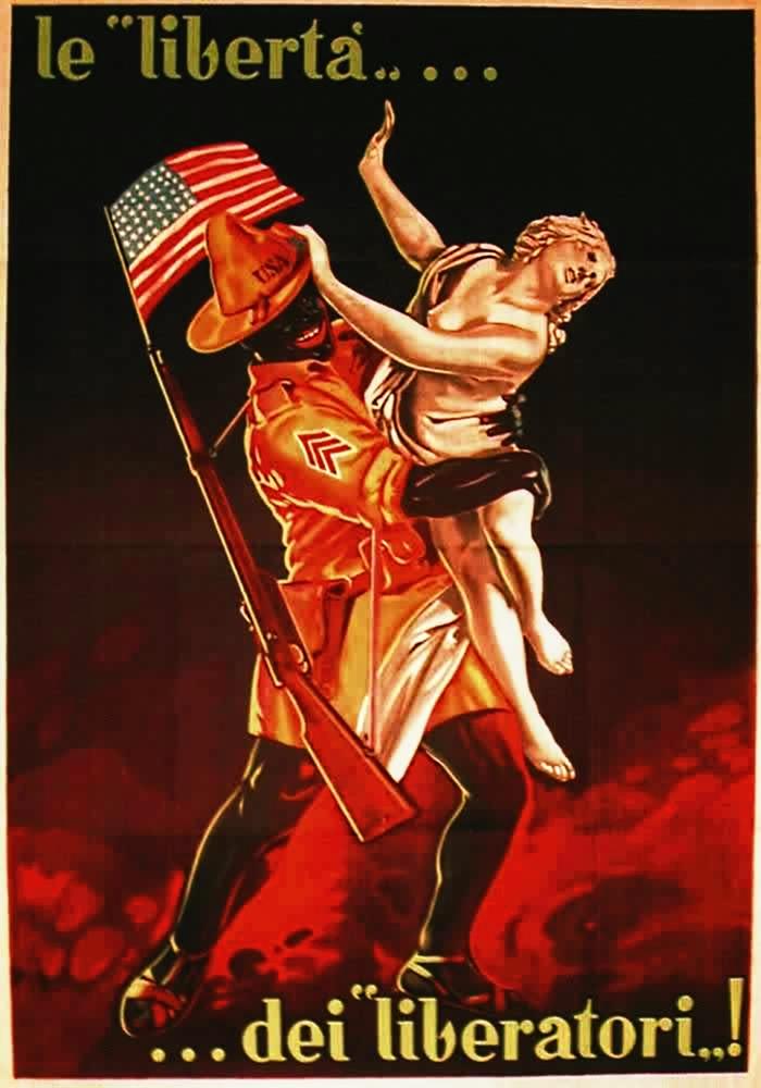 """La libertad de los libertadores"", cartel italiano de la Segunda Guerra Mundial."