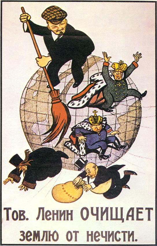 """Cartel de la Revolución Rusa en el que aparece Lenin """"limpiando"""" Rusia."""
