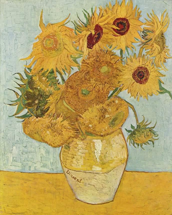 """Van Gogh, """"Jarrón con doce girasoles"""", 1888."""