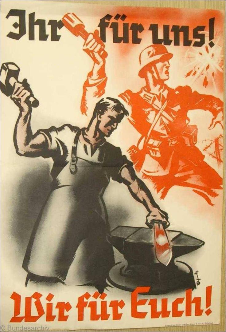 """""""Vosotros para nosostros. Nosotros para vosotros"""". Cartel alemán de la Primera Guerra Mundial."""