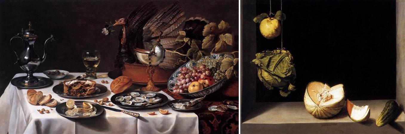 Pieter Claesz. Bodegón con pastel turco, 1627; y Juan Sánchez Cotán, Quince, Cabbage, Melon and Cucumber, 1602.
