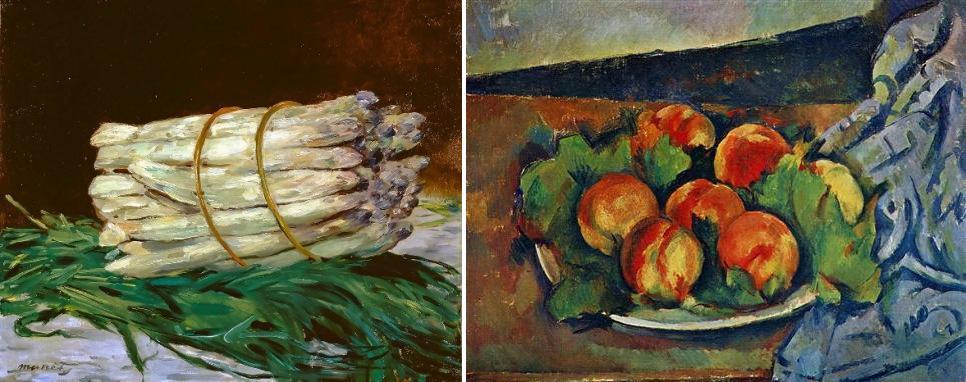 Édouard Manet, Manojo de espárragos (1880); y Cezanne, Plato de melocotones, 1894.