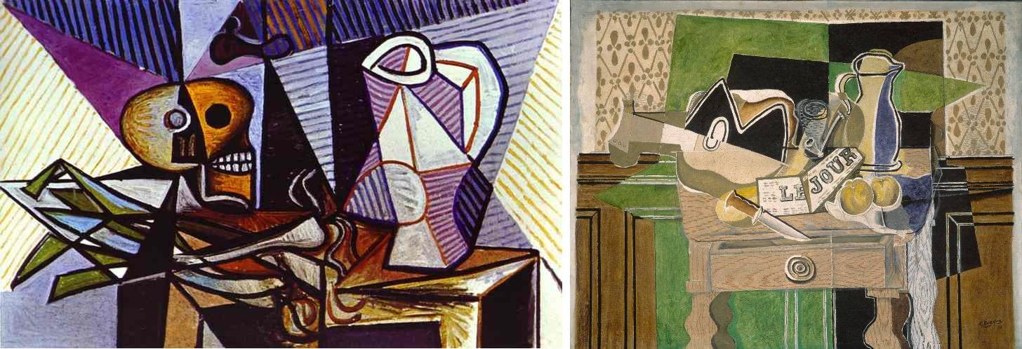 Picasso, Bodegón, 1945; y Braque, Naturaleza muerta Le jour, 1929.