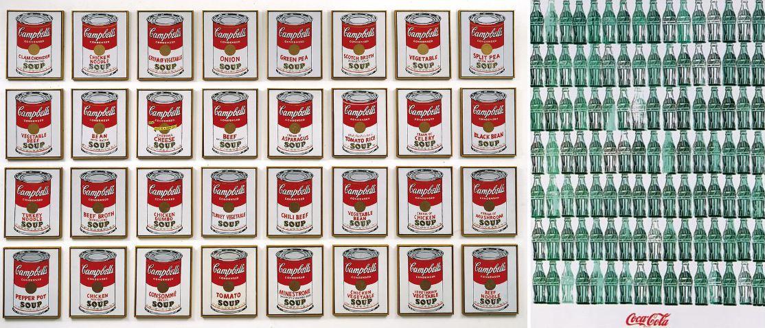 Warhol, Latas de sopa Campbell, 1962 y Botellas de coca-cola, 1962.