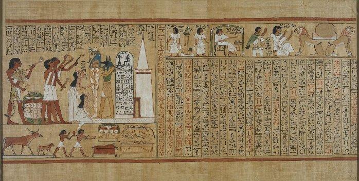 Papiro de Hunefer, Dinastía XIX. Ceremonias a la entrada de la tumba el dia del enterramiento.