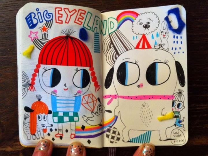 Dibujos originales y llenos de color y fuerza de uno de los sketchbooks de Lily Scratchy