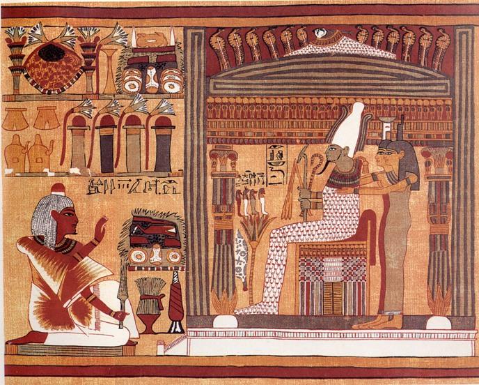 Papiro de Ani, Dinastía XIX. Ani ante Osiris, Neftis e Isis.