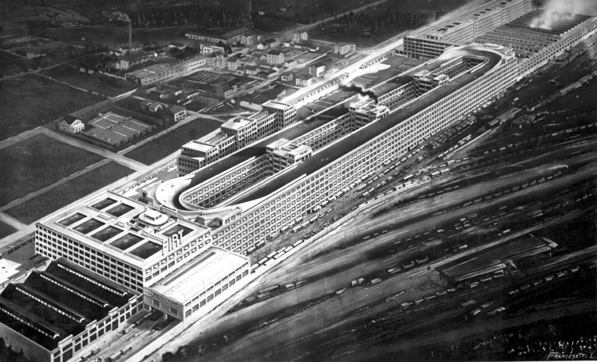 Fábrica de Fiat en Lingotto, obra de Giacomo Mattè-Trucco. Destaca la pista de pruebas que recorrela azotea.