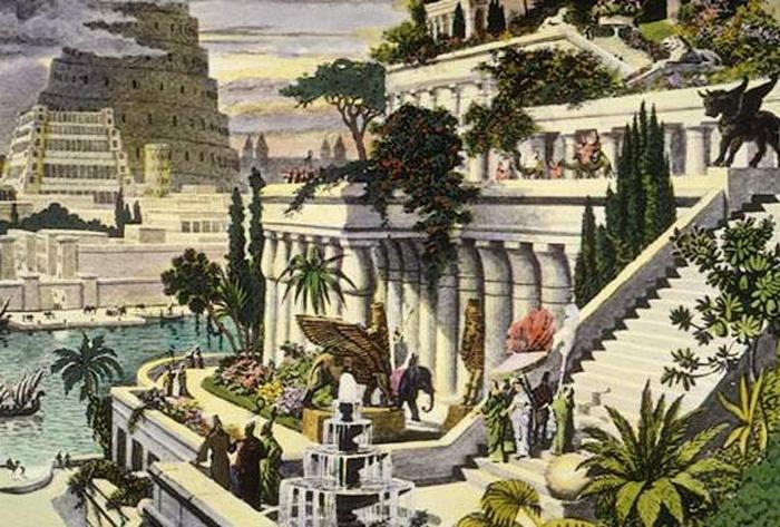 Reconstrucción de los Jardines colgantes de Babilonia obra de Maarten van Heemskerck, siglo XVI.