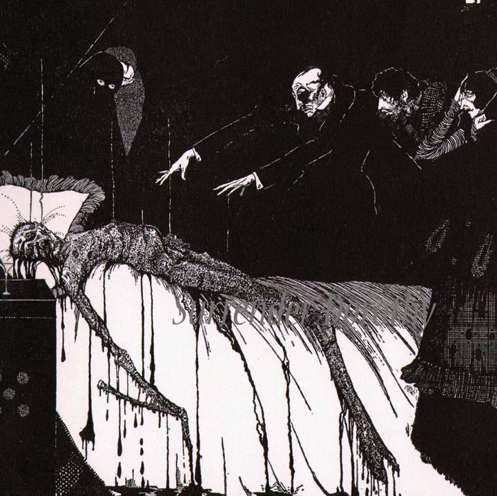 """Ilustración de Harry Clark para """"El extraño caso del señor Valdemar"""", 1919"""