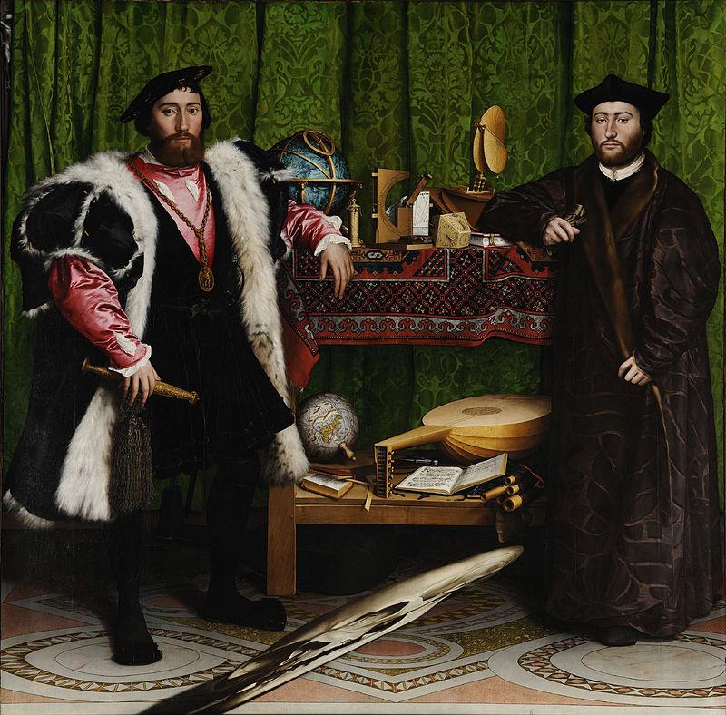 Anamorfosis en Los embajadores de Hans Holbein el Joven - óleo sobre tabla 1533 wikipedia.org©
