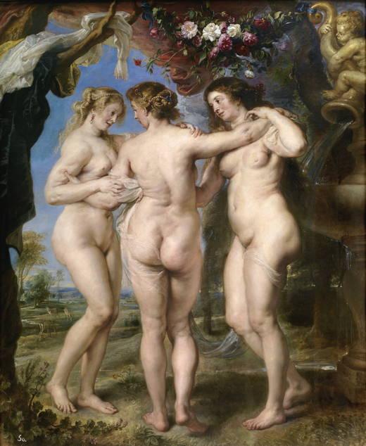 """Pedro Pablo Rubens, """"Las tres Gracias"""", 1630-1635. Una de las obras que Felipe IV adquirió a la muerte de Rubens."""