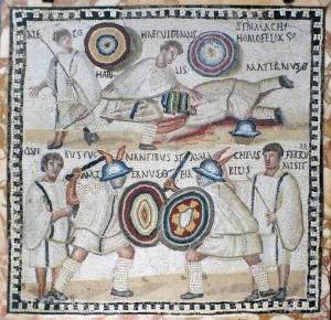 'Lucha de Gladiadores', mosaico de decoración arquitectónica, siglo III, Roma (Museo Arqueológico Nacional).