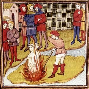 Detalle de una miniatura sobre la quema de templarios, 'Las crónicas de Francia o Saint-Denis', c. 1380 (British Library).