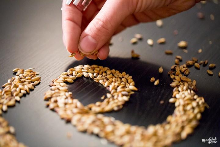 Trabajando artistico diseño de lettering con cereales