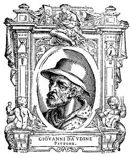 Retrato de Giovanni da Udine. Grabado procedente de Las Vidas de Giorgio Vasari.