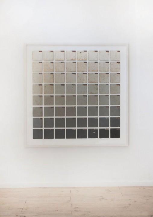 Bruno Ollé Ensayo error 2016 160x160cm Esmalte sobre hierro Galería L&B