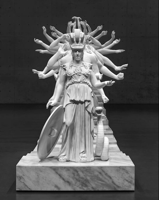Xu Zhen, European Thousand-Armed Classical Sculpture (detalle fila central), 2013-14. Jesmonite y polvo de mármol, dimensiones variables