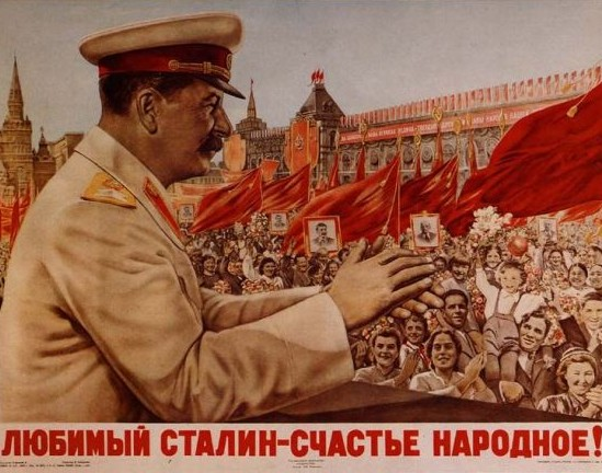 """Propaganda soviética durante el mandato de Stalin. """"¡Amado Stalin, la felicidad del pueblo!"""". Realismo socialista"""