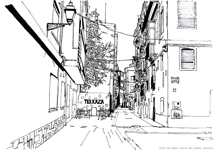 Calle San Ramón. Barrio del Carmen. Valencia