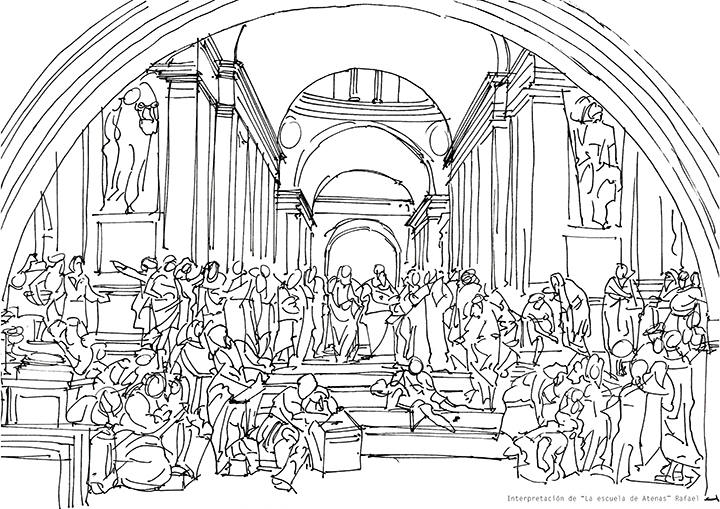"""Interpretación de """"La escuela de Atenas"""" Rafael"""