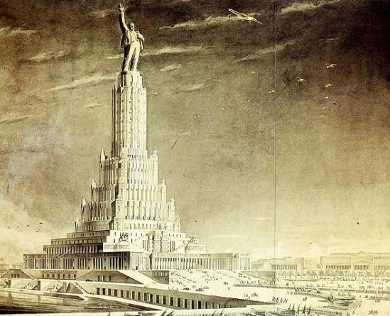 Boris Iofán, Palacio de los Sóviets, década de 1930. Escultura de Lenin como cierre del edificio. (Proyecto no llevado a cabo)