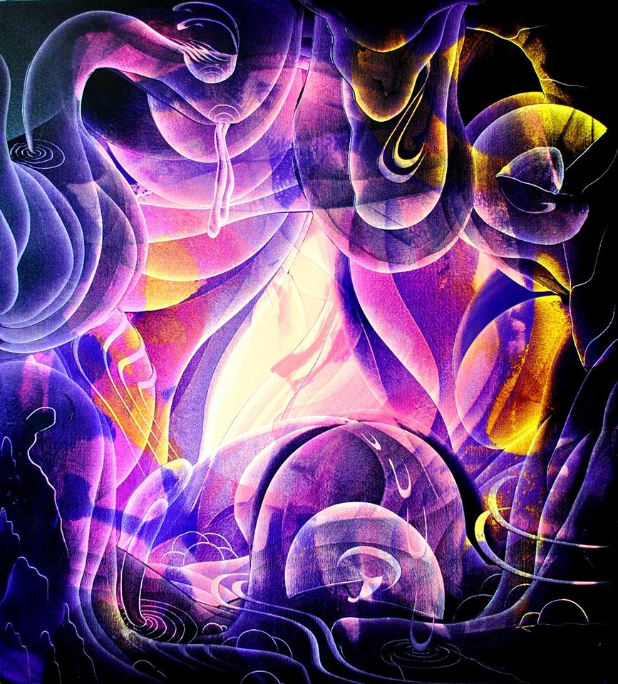 Light at night, oil on canvas, glaze, 100cm x 90cm, 2015,