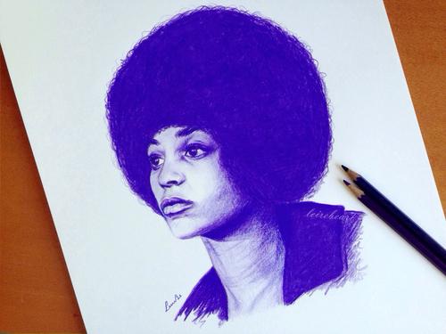 Dibujo de Angela Davis by @LeireBeArt