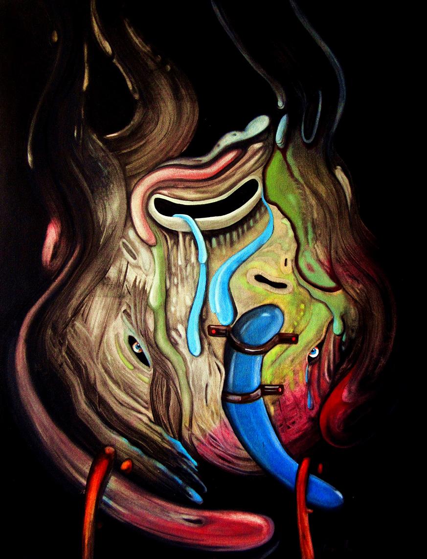 observant dark and black series, oil on paper, 2013, mauricio paz viola