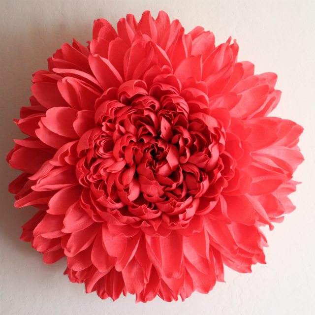 El arte hecho flor, chrysanthemum, crisantemo, flor de papel.
