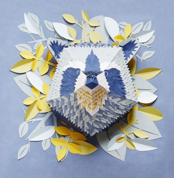 Mapache, papel, animales, creados por Mlle Hipolyte