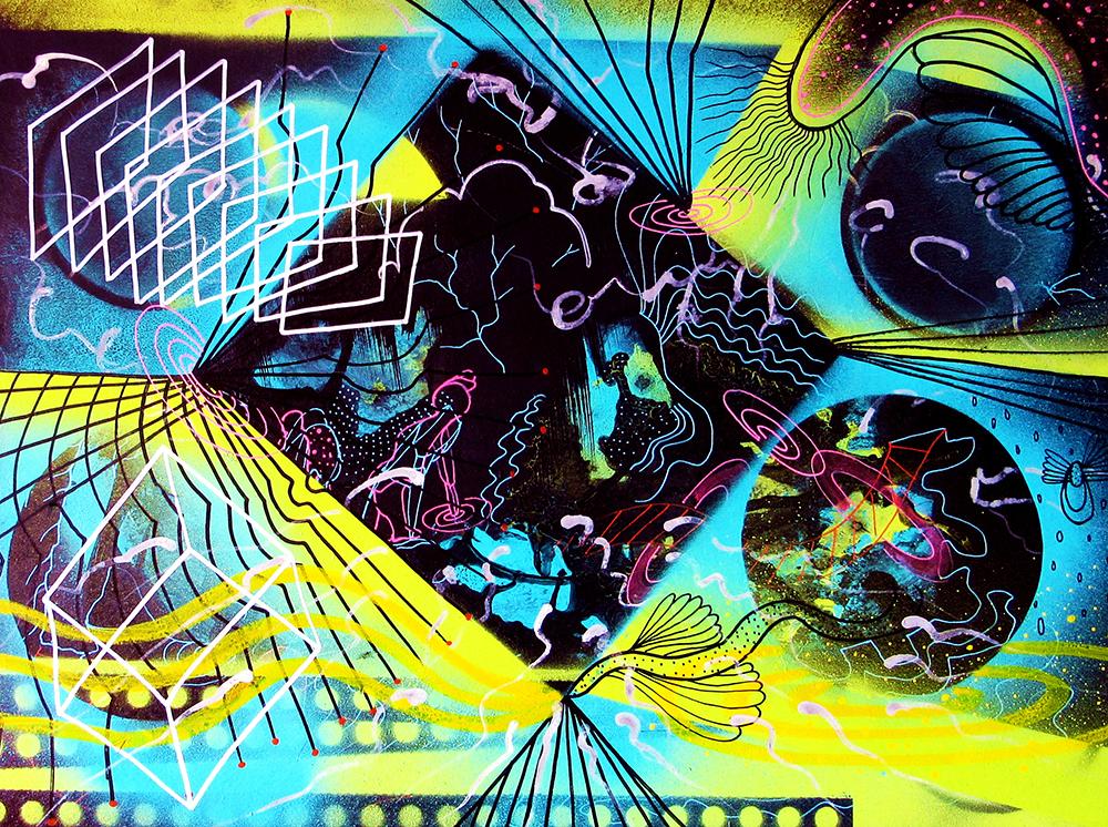 puerta, filigrana cosmica, spray ,acrilico y pastel sobre carton, 2016