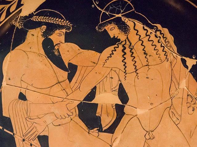 Foto 1. Pintor de Pentesilea, Zeus cortejando a Ganimedes (detalle de cerámica griega, h.450 a.C.). Museo Arqueológico Nacional, Ferrara (1)