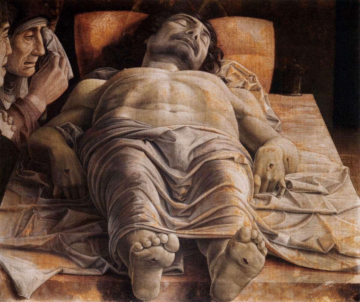 Foto 3. Andrea Mantegna, Cristo muerto, h.1474. Óleo sobre tabla, 68 x 81 cm. Pinacote di Brera. (1)