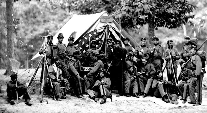 Fotografía de unos soldados den la Guerra de Secesión