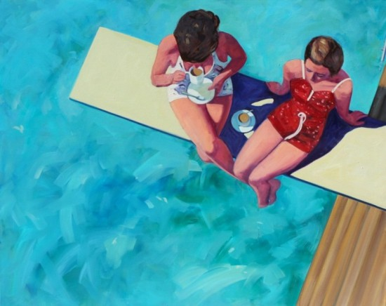 "Tracey Sylvester Harris, Diving board tea for two (serie Lost Holiday), 40"" x 50"""