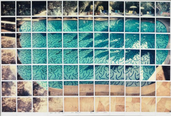 "David Hockney, Sun On The Pool, Los Angeles April 13th 1982. Fotocollage (composición de polaroids), 34"" x 36"""
