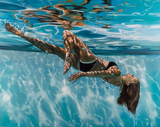"Eric Zener, Tumbling through the light, 38"" x 48"""